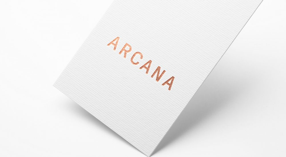 Arcana Hangtags for Shoes with Copper foil on white card