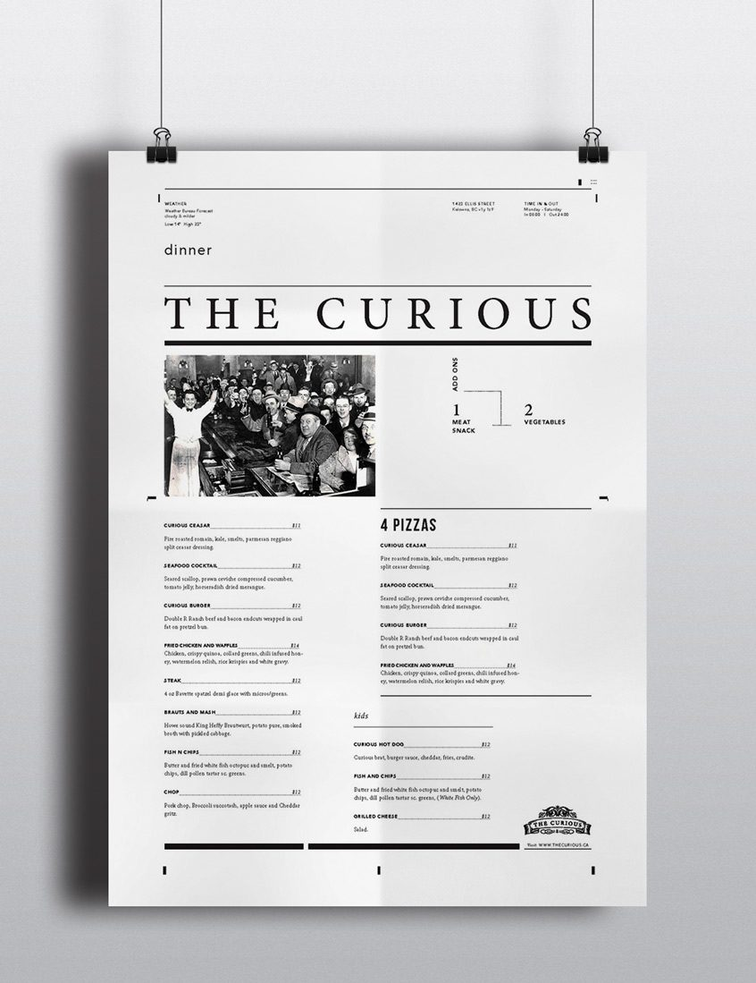 The Curious Menu - Layout Design