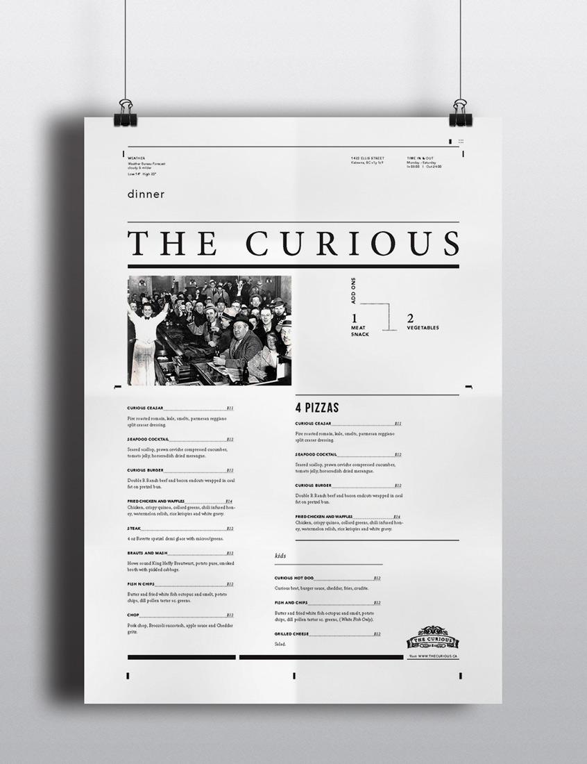 The Curious Menu - Layout Design
