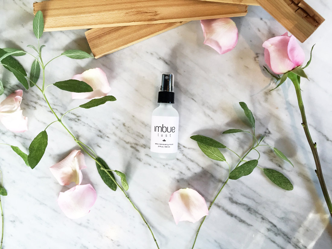 Imbue Goods - lust - 60ml - flatlay with roses