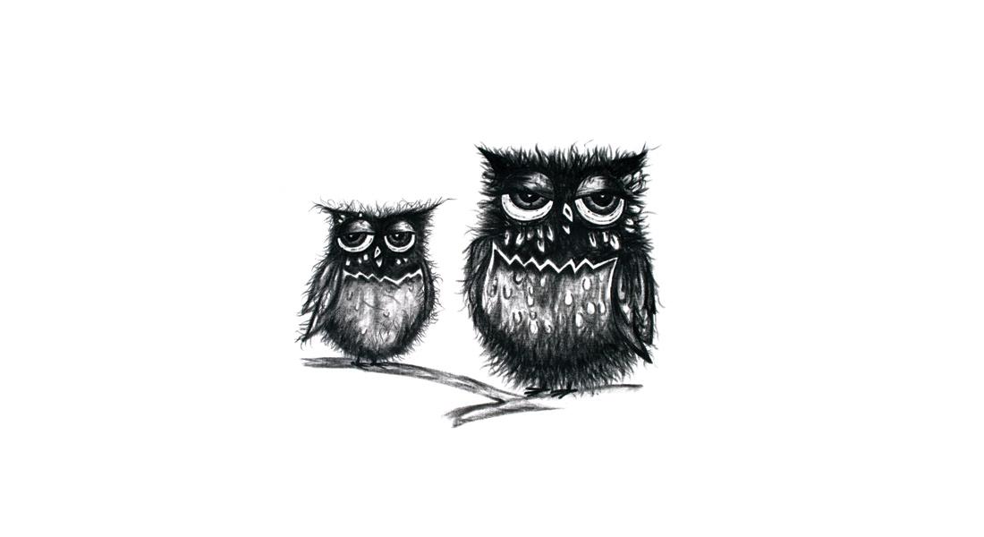 IWA9 Mother and Baby Owl Illustration