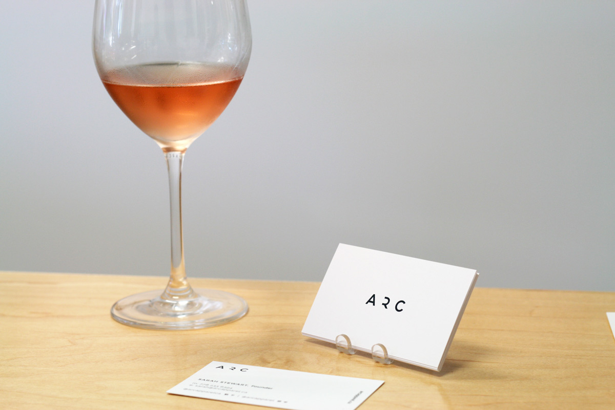 ARC Apparel promotional cards at pop-up store