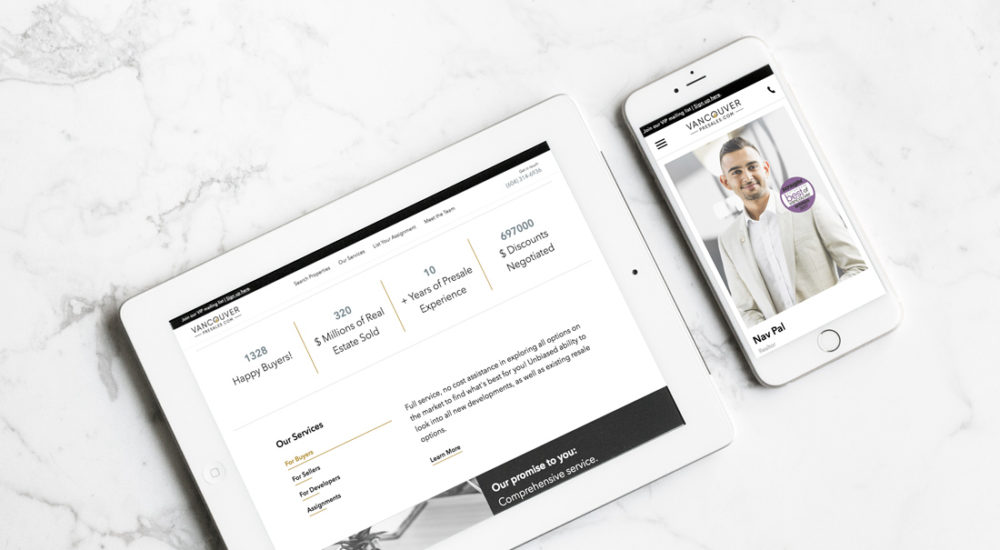 Vancouver Presales - Mobile Mockup on Marble