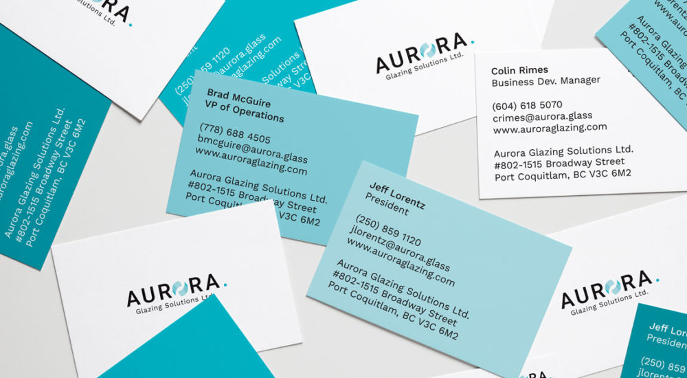 Aurora Glazing Solutions Business Cards in blue and white with typography minimal design