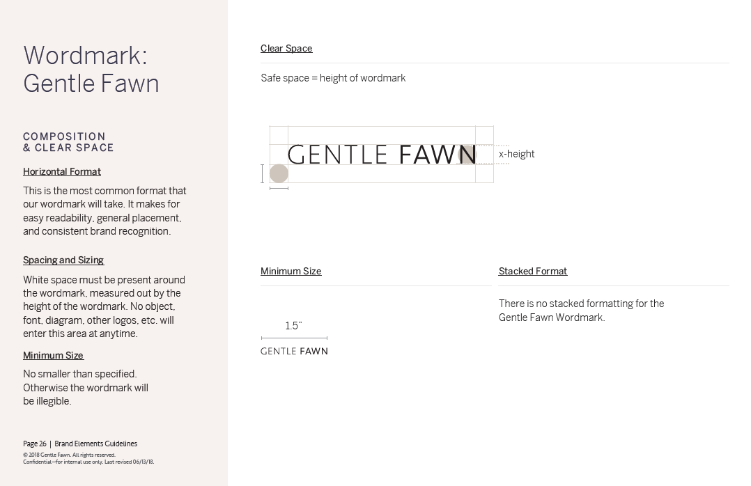 Gentle Fawn - Wordmark Guidelines