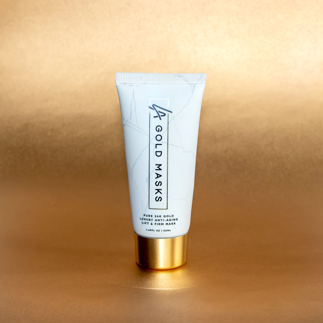 LA Gold Masks Lifestyle Product Photography on Gold Background