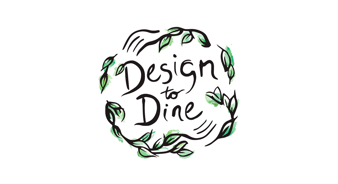 Design To Dine - Logo with hand drawn leaves in green