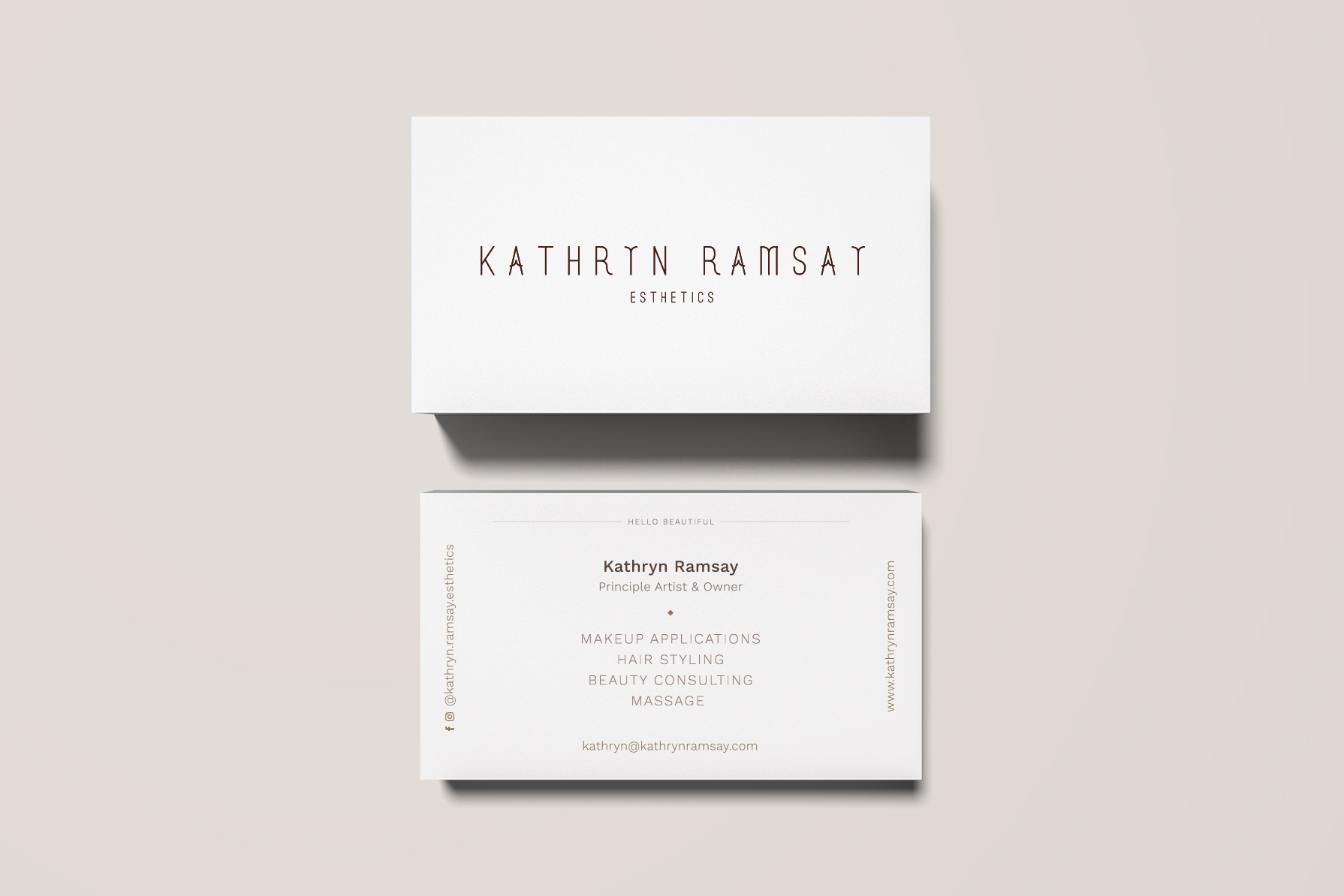 Kathryn Ramsay Esthetics - Business Card - Art Direction and Branding