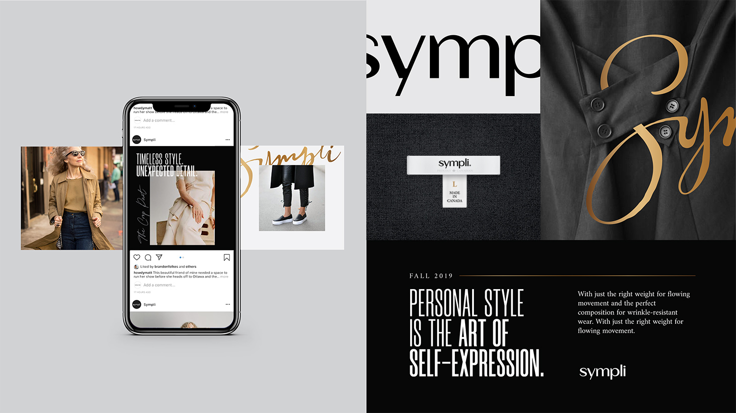 Sympli Branding - Instagram feed and clothing labels